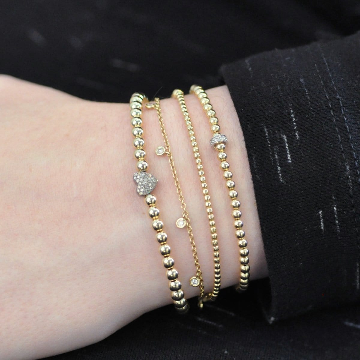 3mm Diamond Rondelle Yellow Gold Round Bead Bracelet