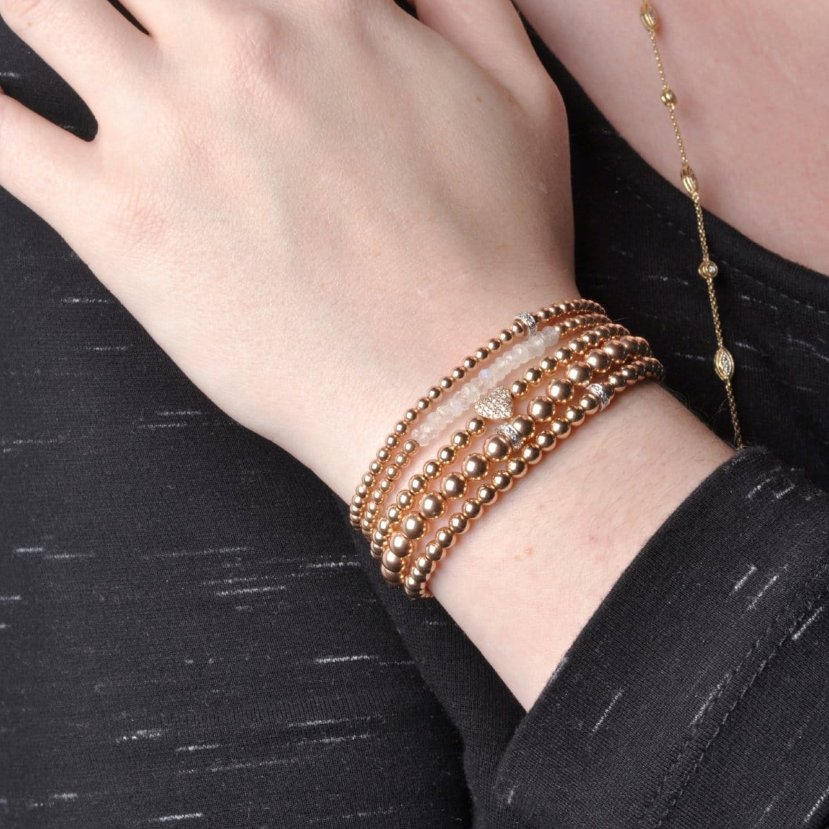 3mm Diamond Rondelle Rose Gold Bead Bracelet