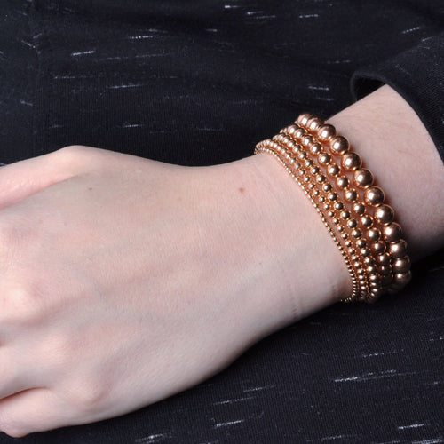 Rose Gold Beaded Stacking Stretch Bracelet