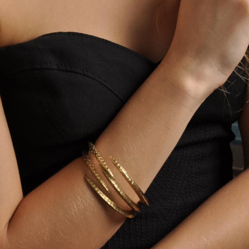 Triple Claw Gold Plated Bangle