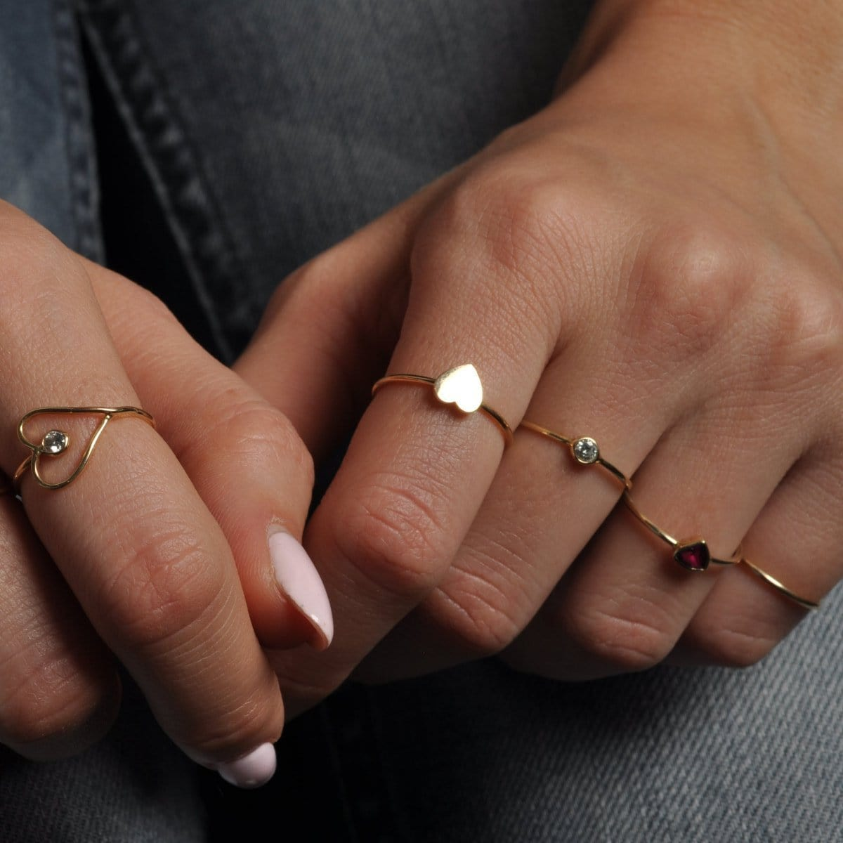 Flat Heart Yellow Gold Ring