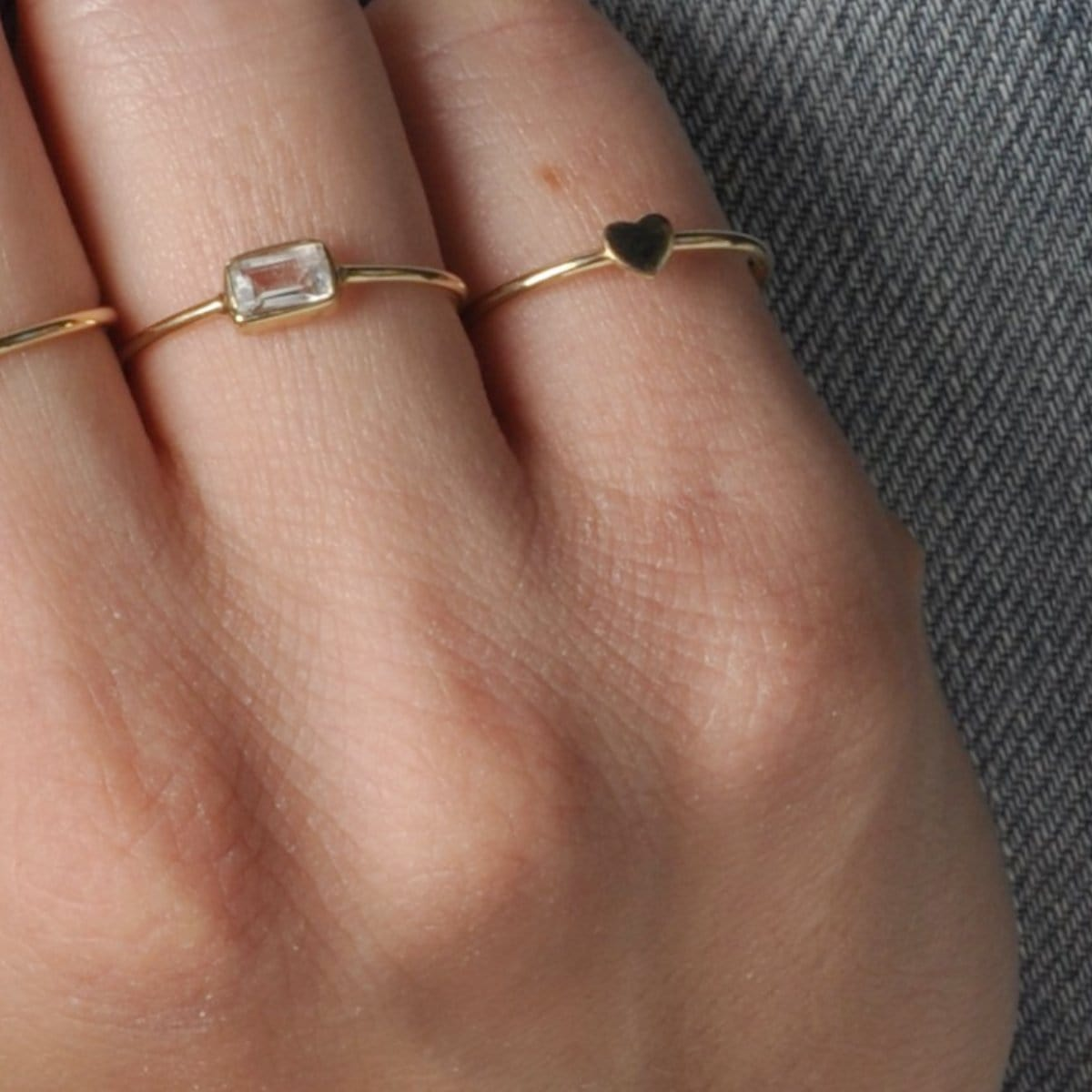 Small Flat Heart Yellow Gold Ring Caitlin Nicole
