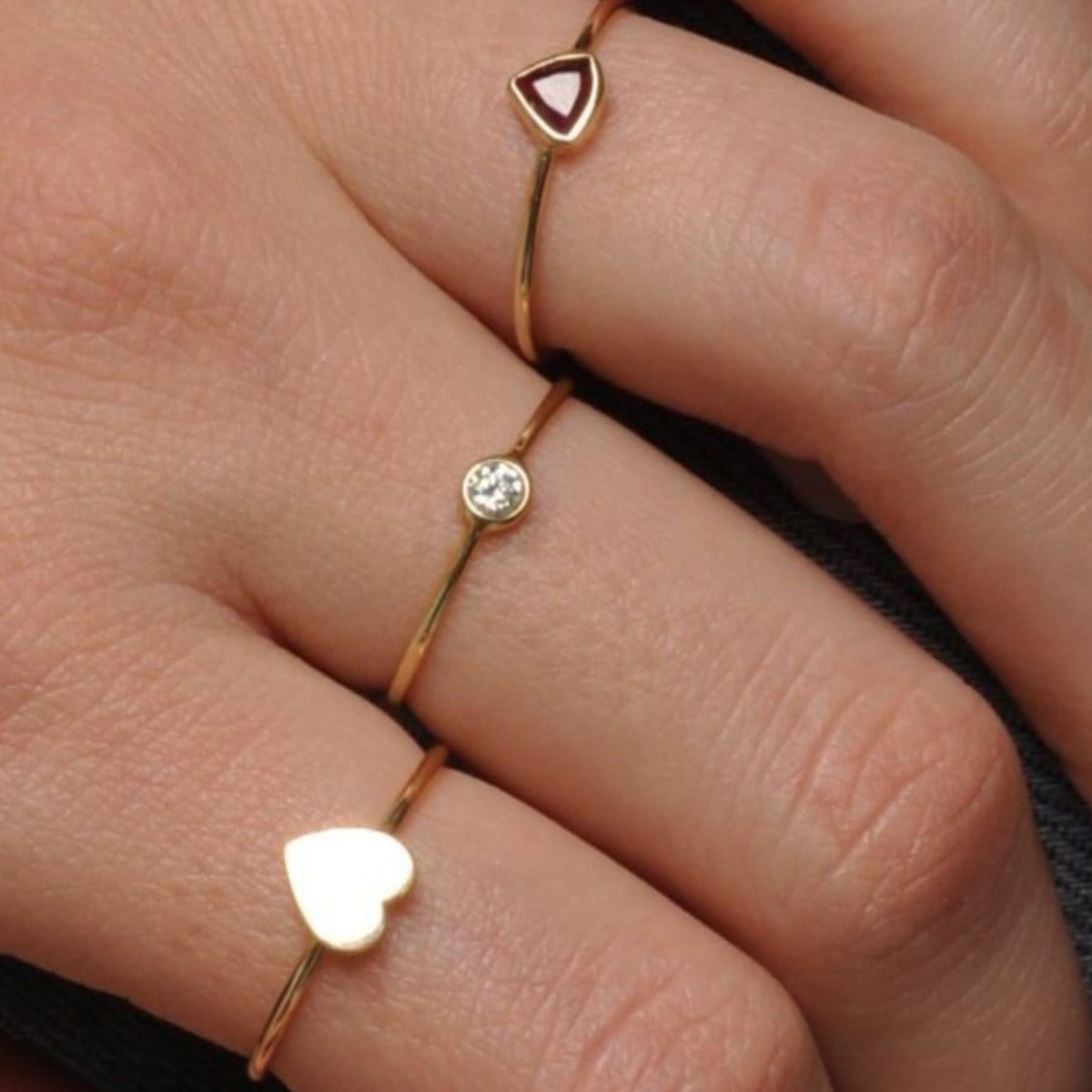 Small Round Diamond Gold Ring Flat Heart Ring Caitlin Nicole