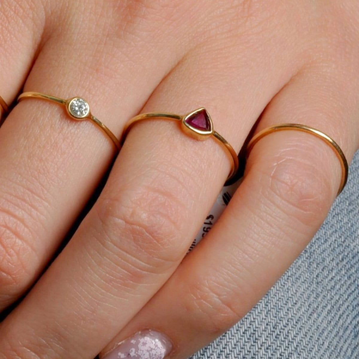 Dark Pink Tourmaline Trillion Cut Gold Ring