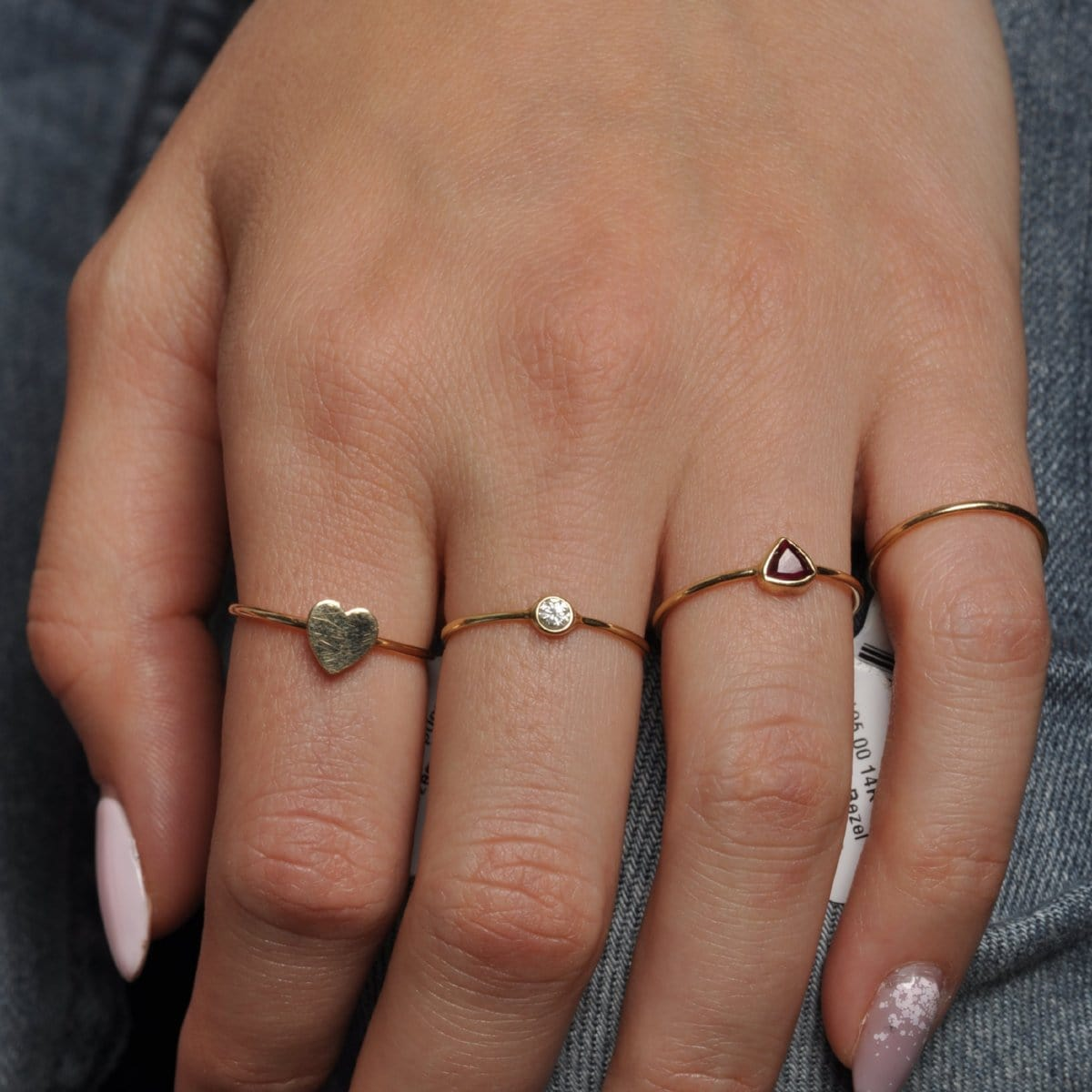 Yellow Gold Flat Heart Ring Caitlin Nicole Petite Rings