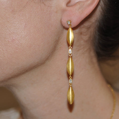 Long Drop Diamond Earrings