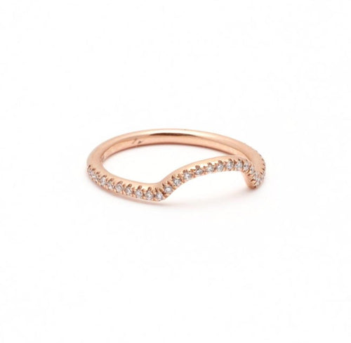 Curved Diamond Gold Ring