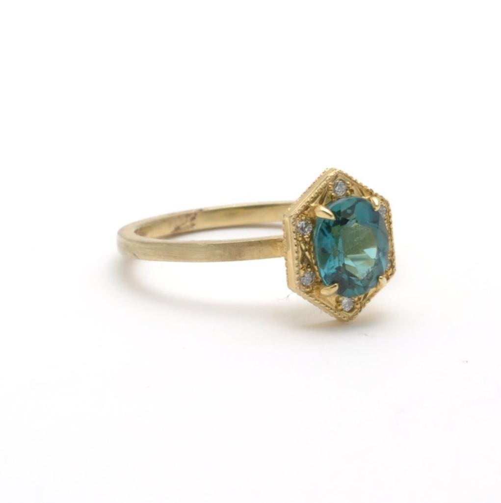 Blue tourmaline suneera ring