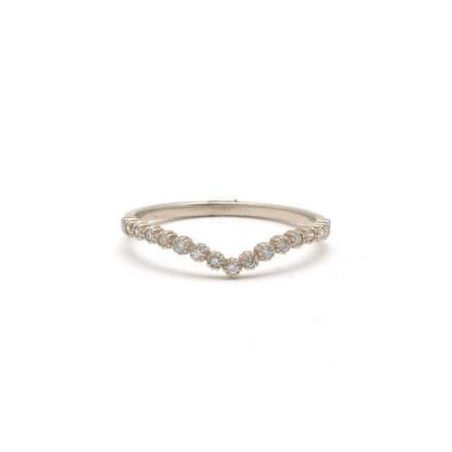 White gold diamond v shape stacking ring