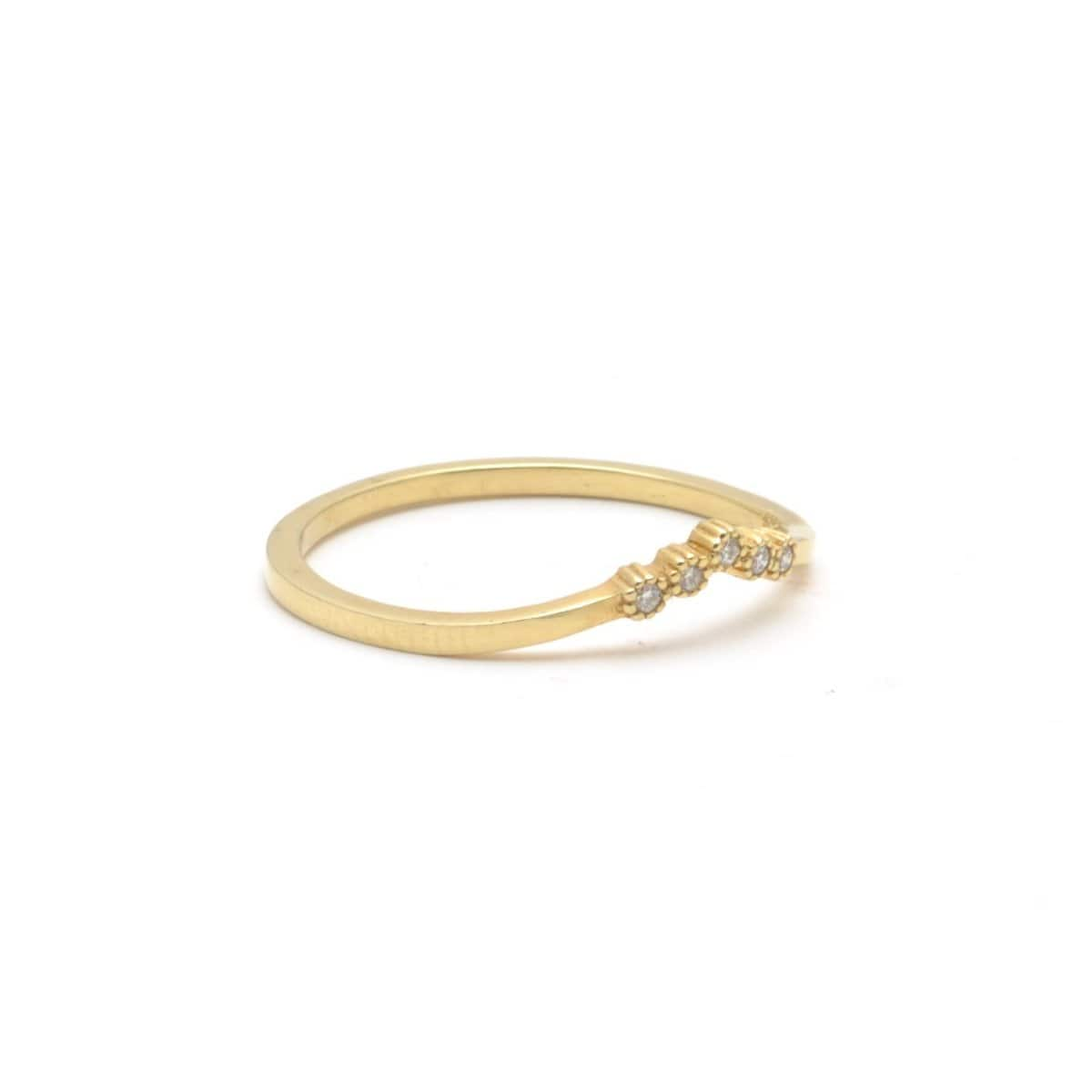 Suneera diamond yellow gold ring or wedding band