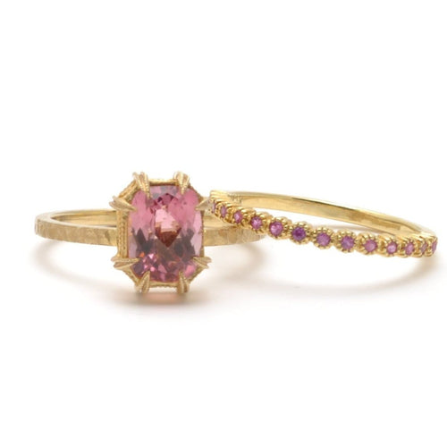 Pink Tourmaline Yellow Gold Ring