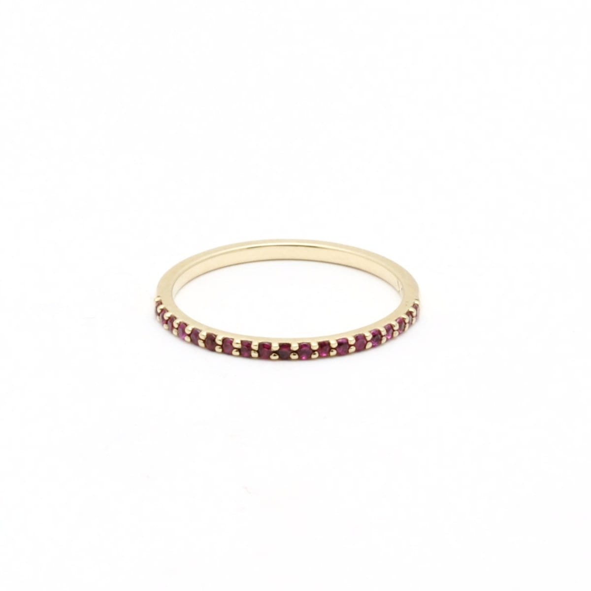 Ruby Half Eternity Gold Stacking Ring