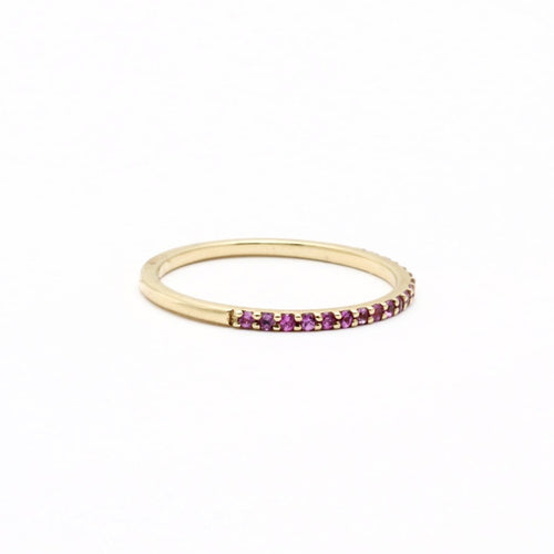 Pink Sapphire Pave Half Eternity Stacking Ring