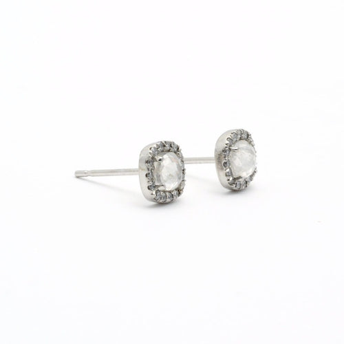 Platinum rustic diamond earrings Boudov
