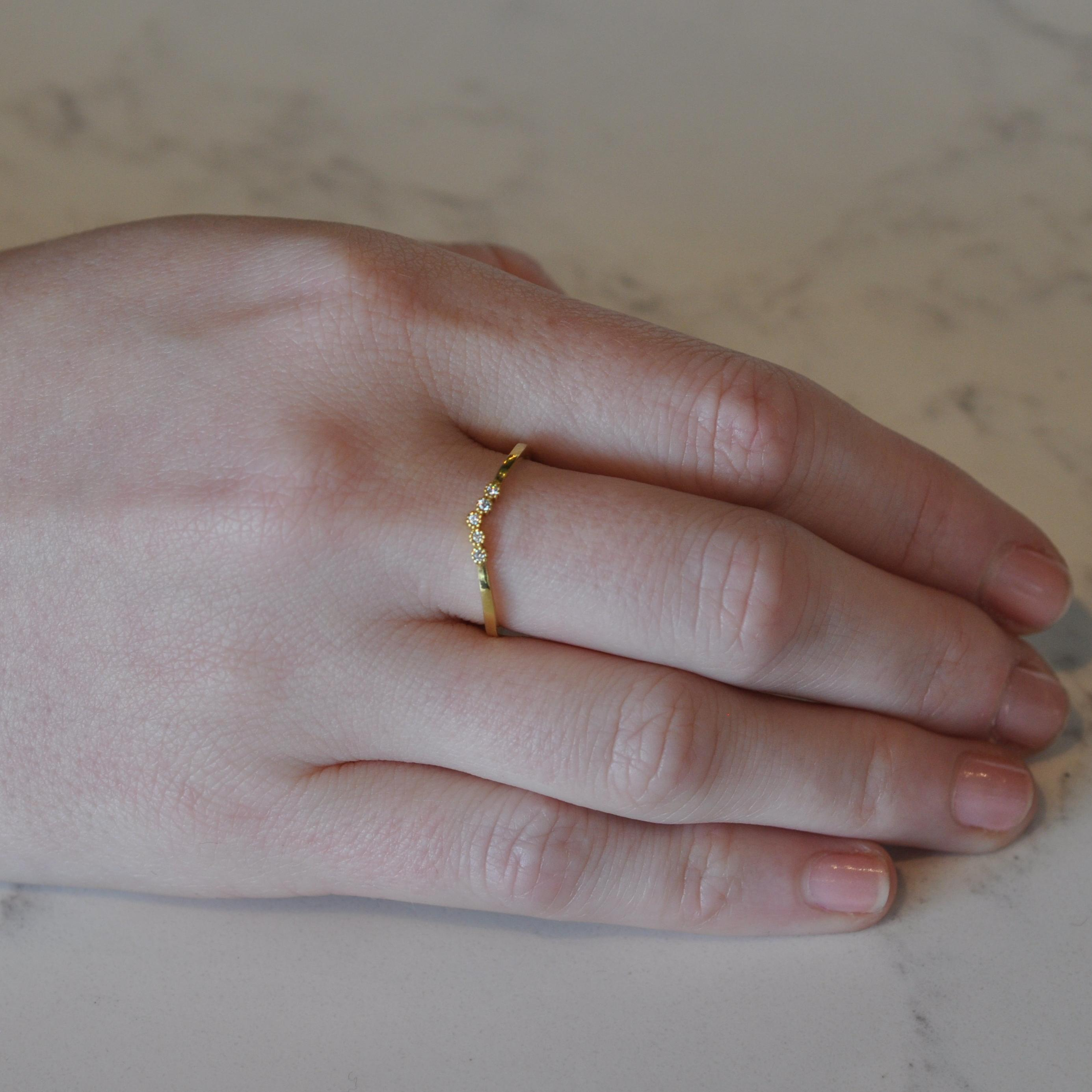 Diamond yellow gold ring by Suneera