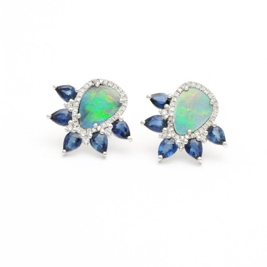 Blue Sapphire Opal Doublet Diamond Earrings