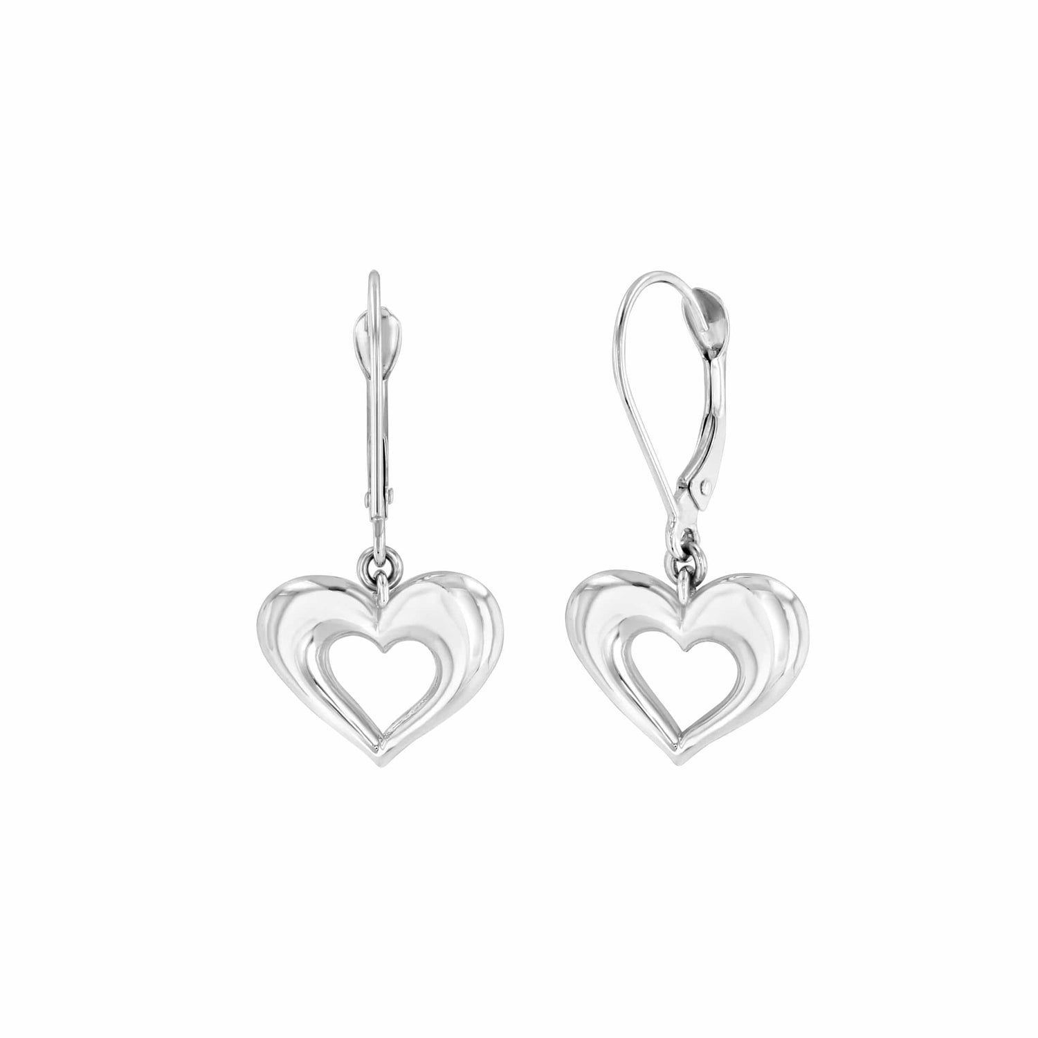 Dangle Earrings White Gold Hearts Elizabeth Jane Atelier