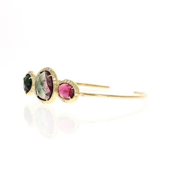 Watermelon Tourmaline Slice Diamond Cuff Bracelet - Curated Los Angeles