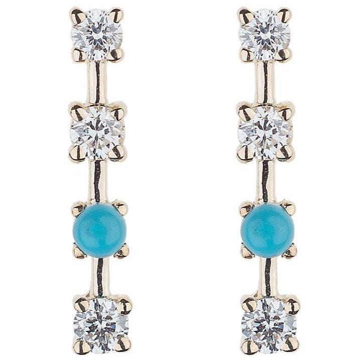 Diamond and Turquoise Bar Studs lee jones