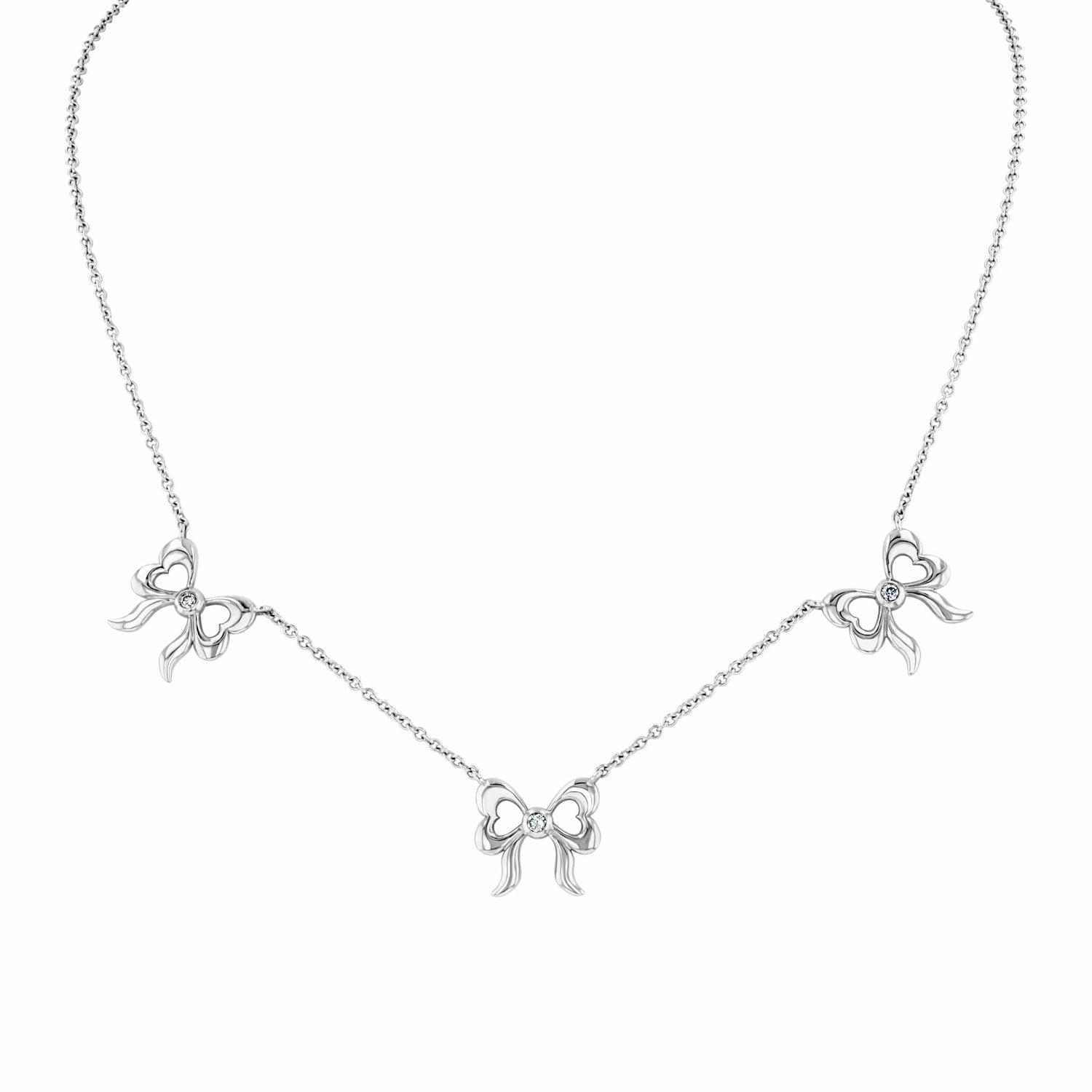 Triple Bow Diamond Necklace