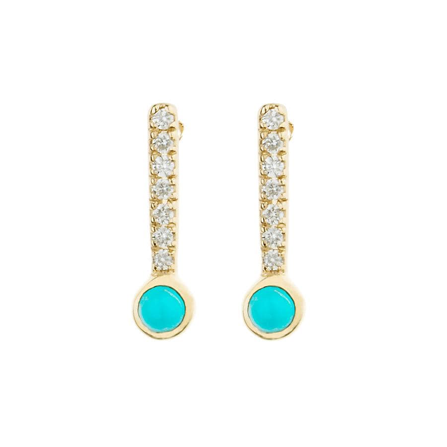 Cabochon Turquoise Diamond Bar Studs