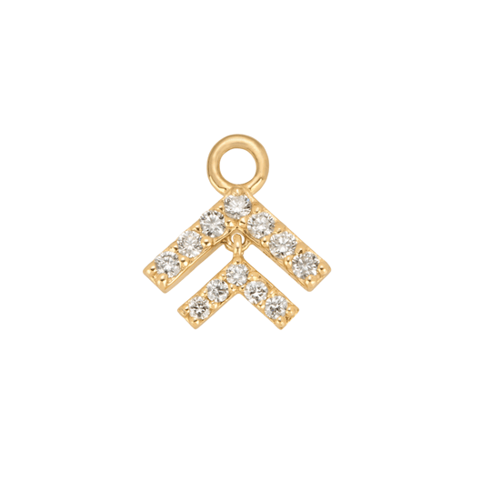 Diamond Chevron Gold Hoop Charm
