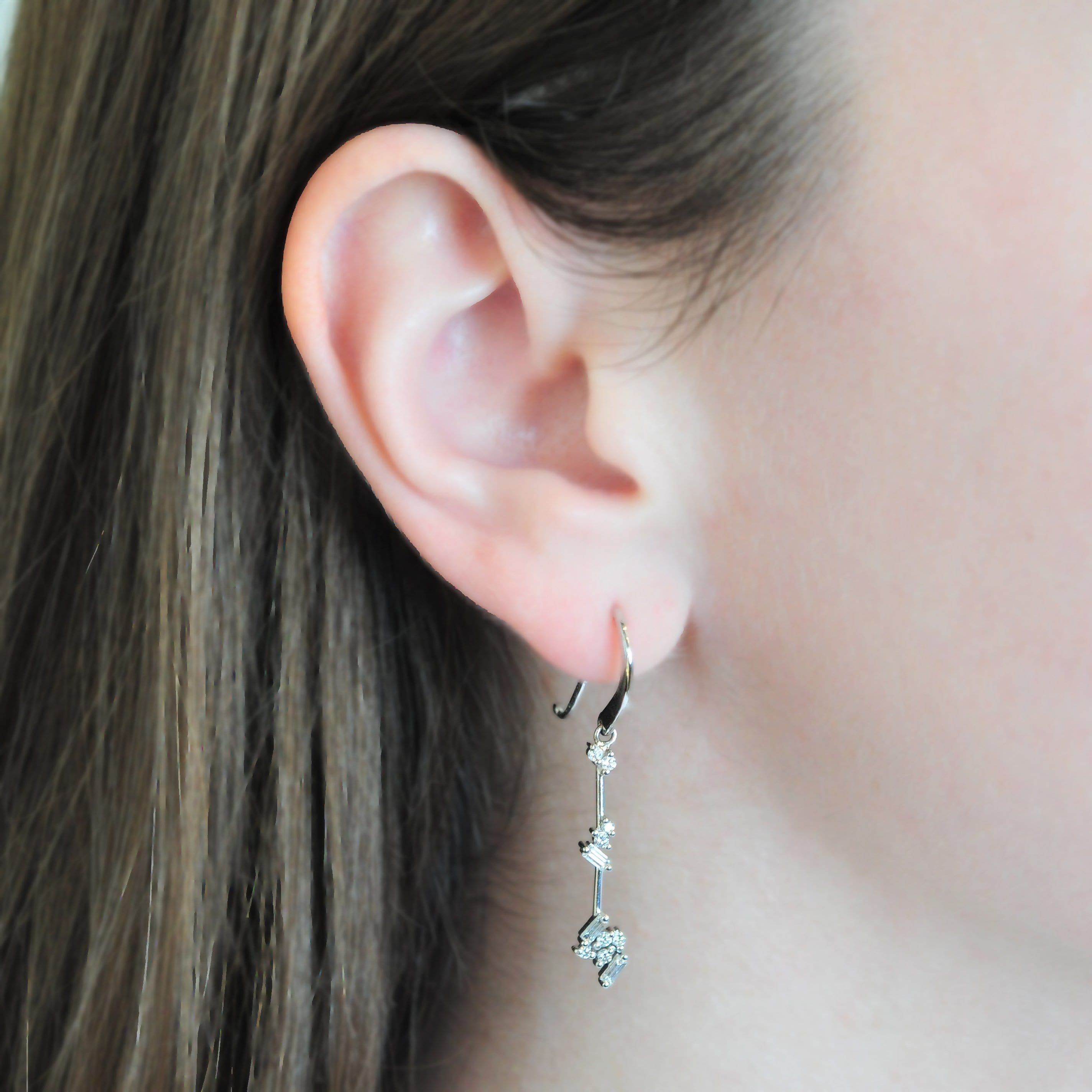 Diamond Cluster White Gold Dangle Earrings