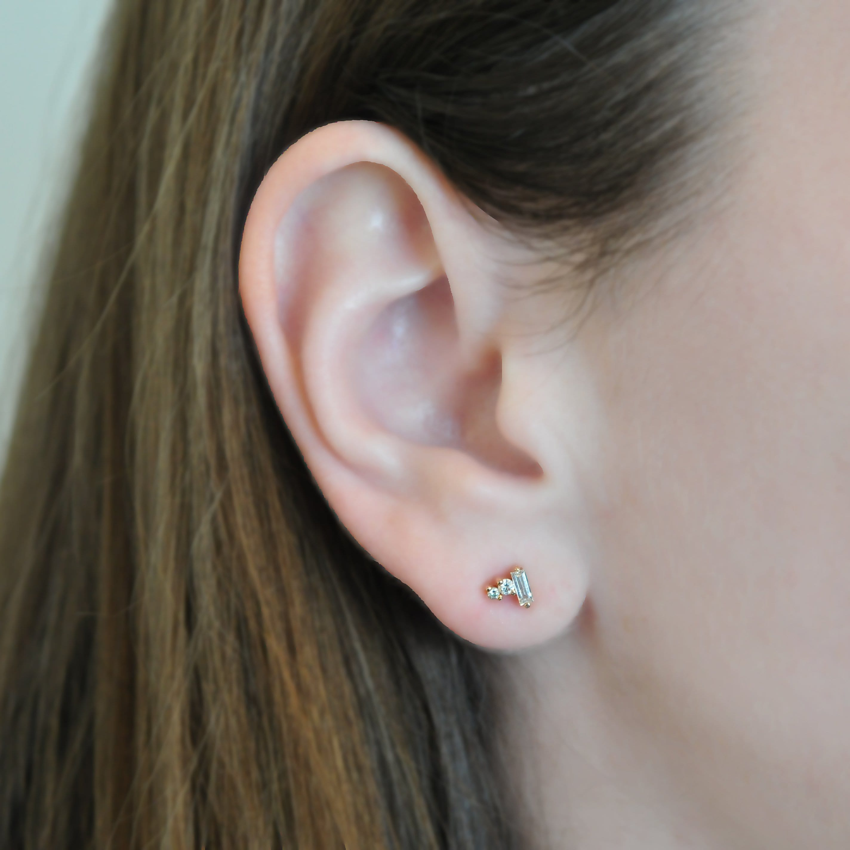 Three Diamond Cluster Rose Gold Stud Meredith Young