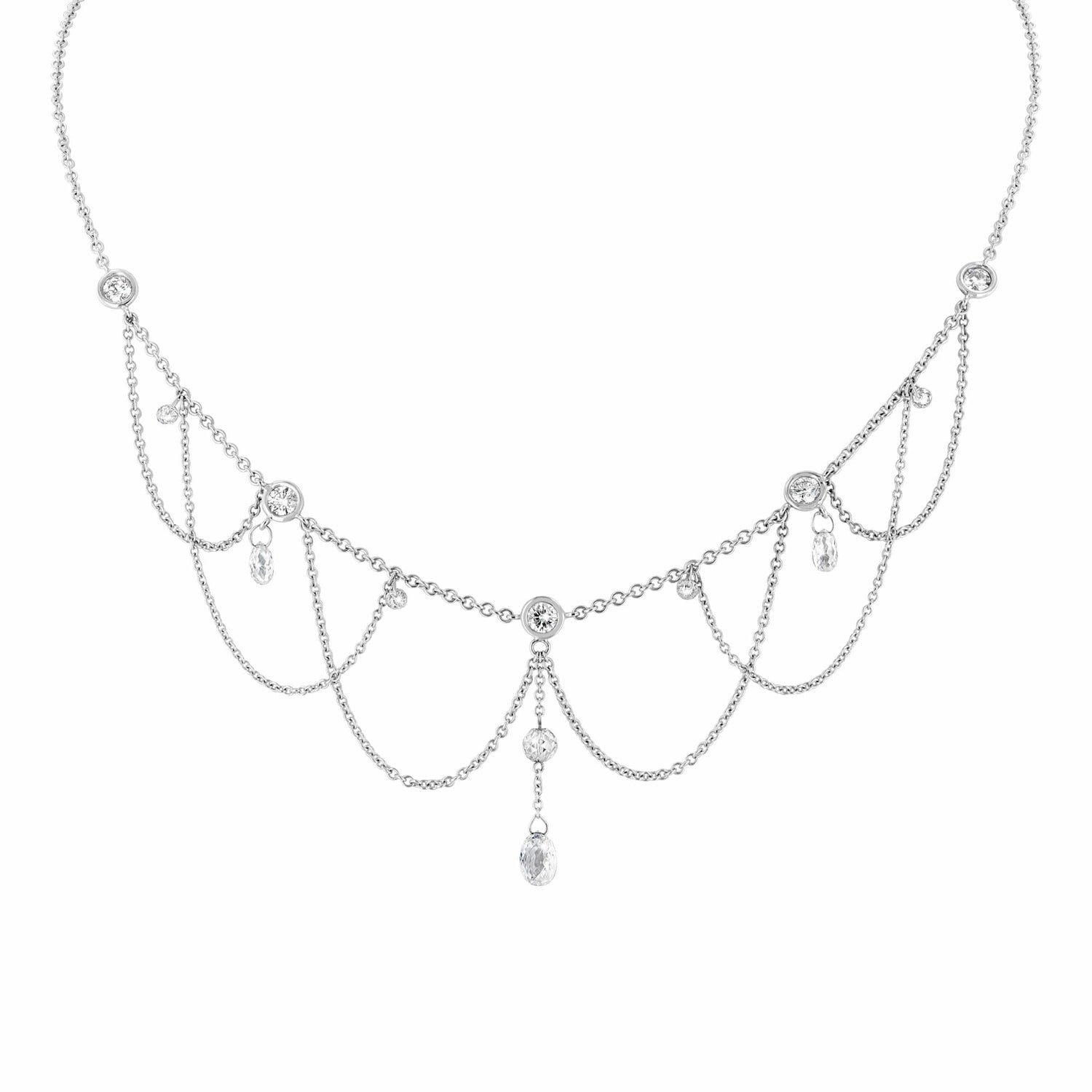 Diamond Briolette White Gold Swag Necklace