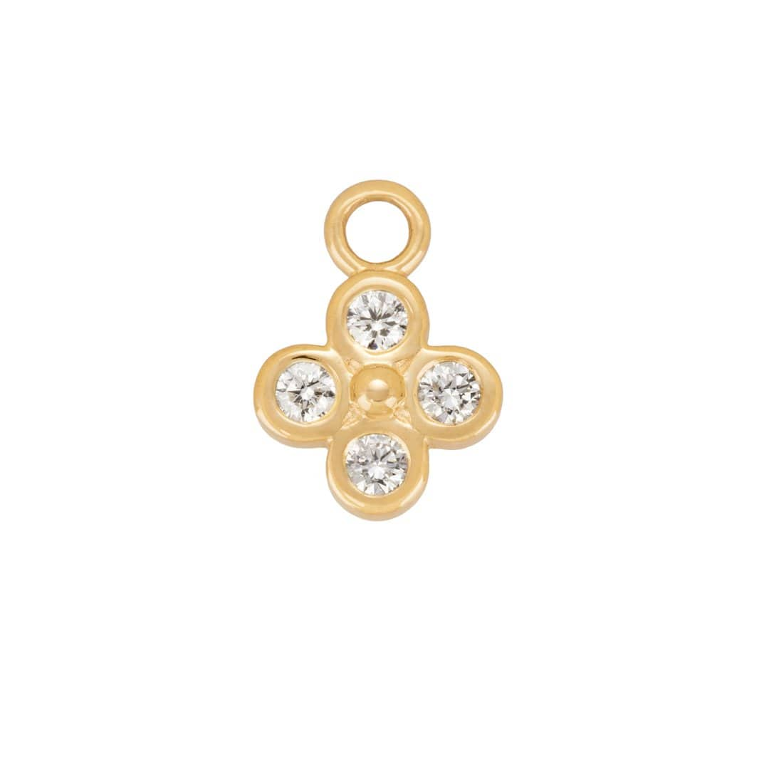Diamond Clover Gold Hoop Charm