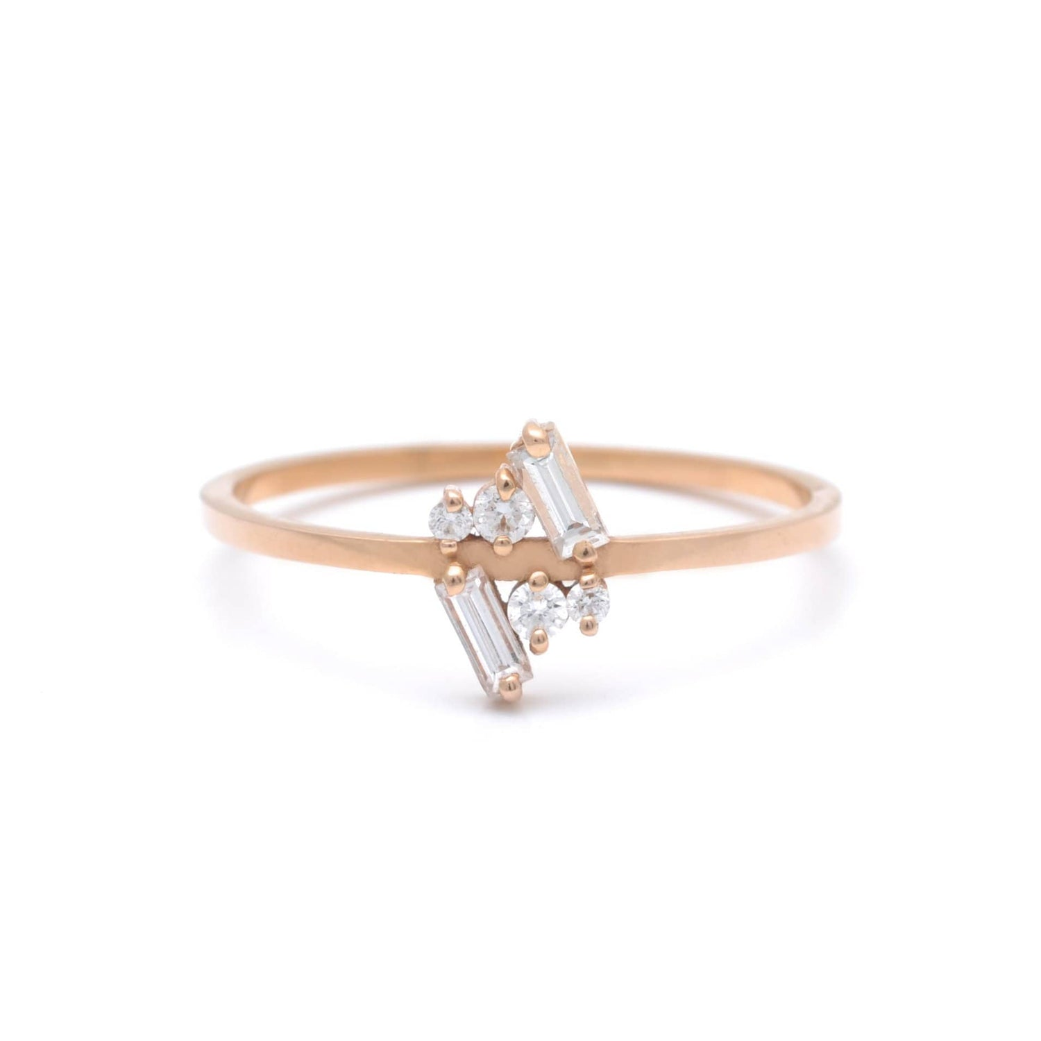 Six Diamond Cluster Petite Rose Gold Ring