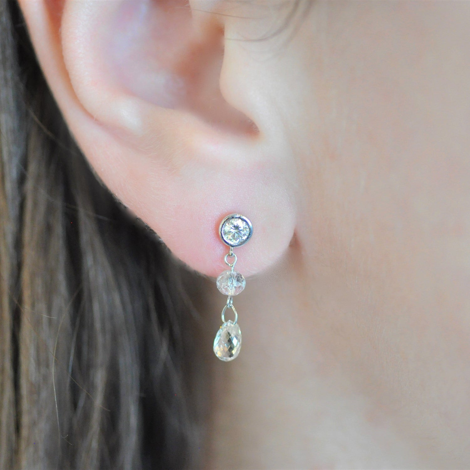 Brilliant Diamond Briolette Cut White Gold Diamond Earrings Elizabeth Jane Atelier One of a kind