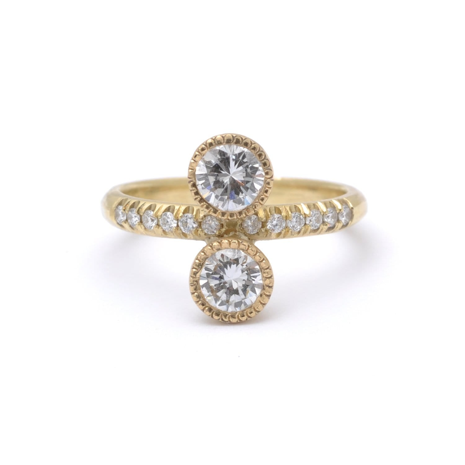 Diamond Top and Bottom Gold Alternative Engagement Ring