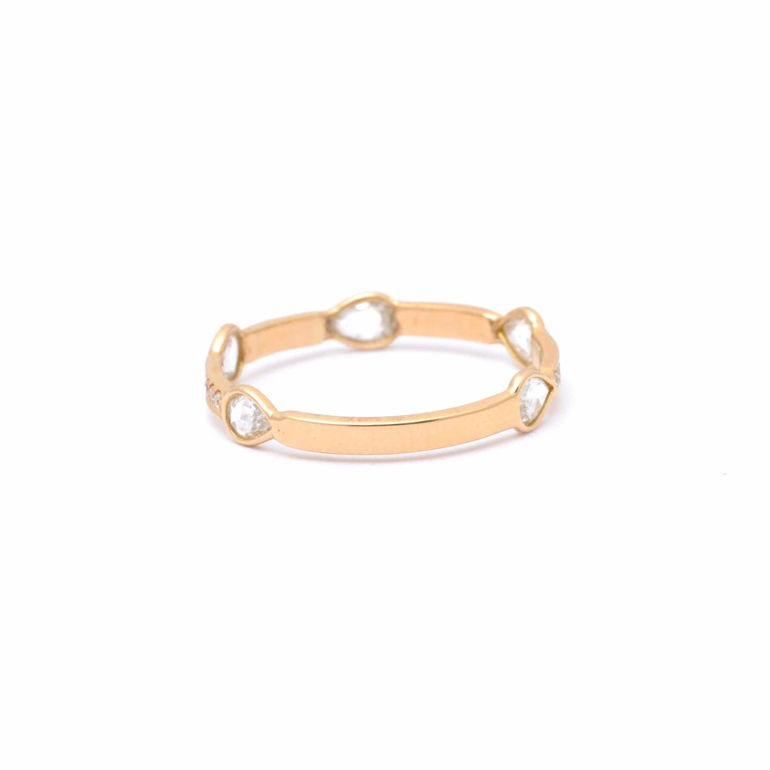 Diamond Rosecut Pear Shape Gold Stacking Ring
