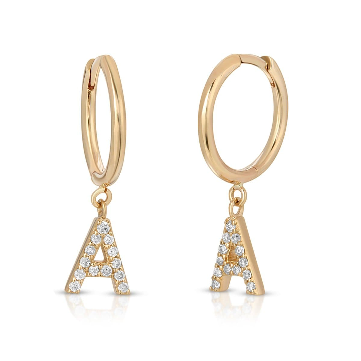 Diamond Letter A charm Huggie Earrings