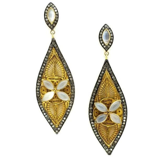 Diamond Moonstone Filigree Long Drop Earrings - Curated Los Angeles
