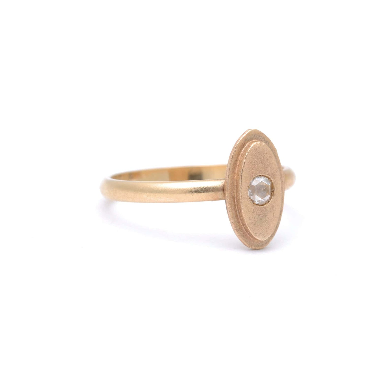 Oval Shape Matte Gold Delicate Diamond Ring