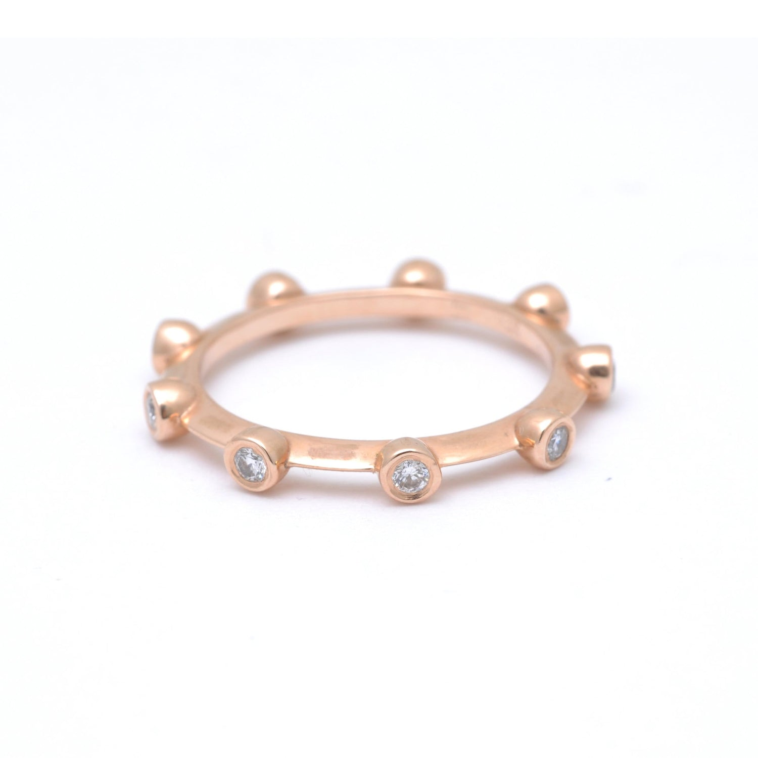 Rose Gold Diamond Bezel Stacking Ring
