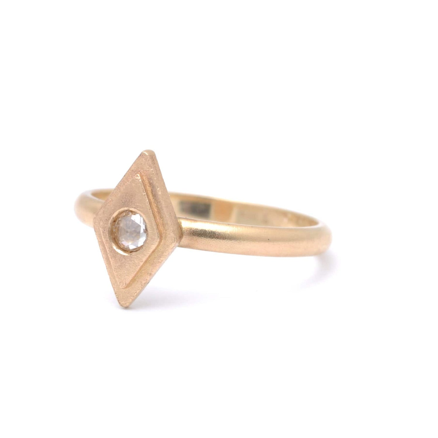 Diamond Shape Matte Gold Solitaire Diamond Ring