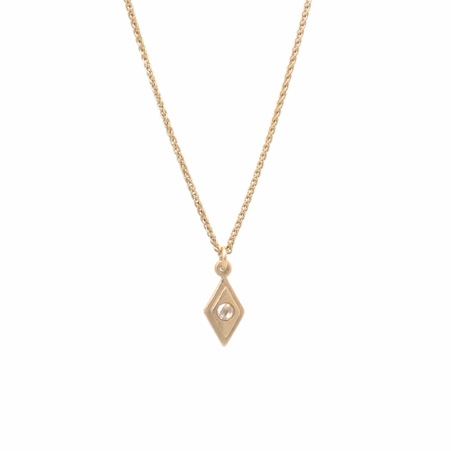 Diamond Shape Matte Gold Diamond Pendant