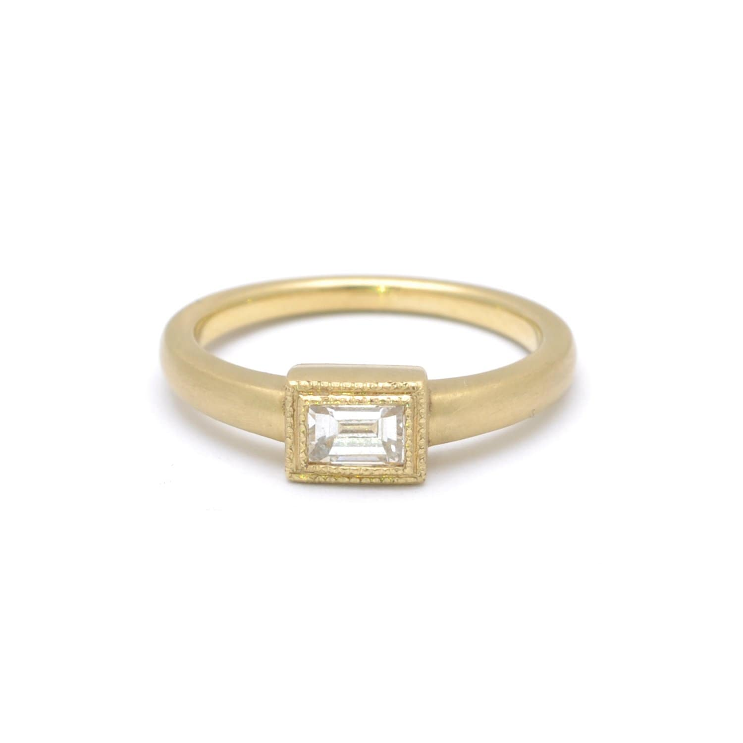 Diamond Emerald Cut Matte Gold Ring