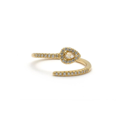 Snake Diamond Spiral Yellow Gold Ring
