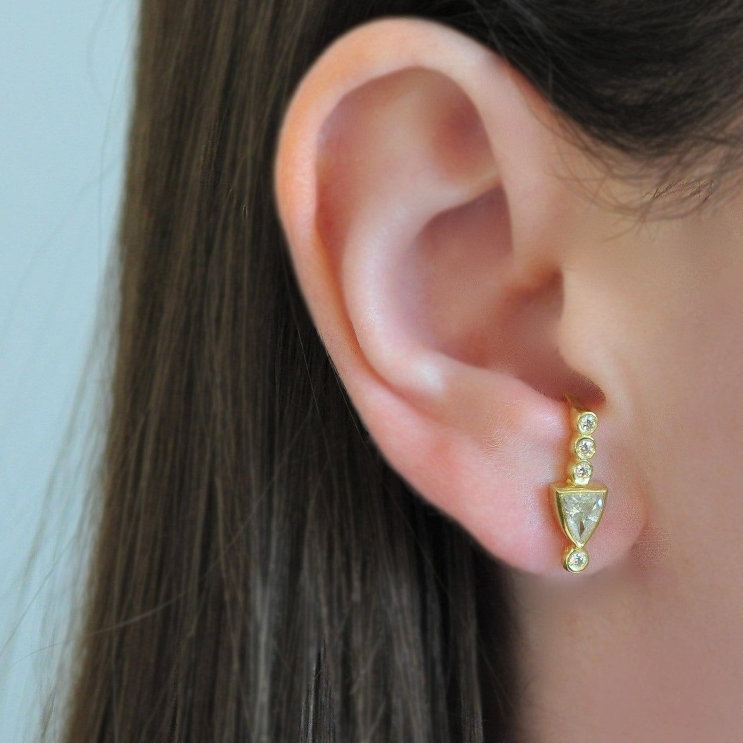 Diamond Shield J Hoop Yellow Gold Earrings
