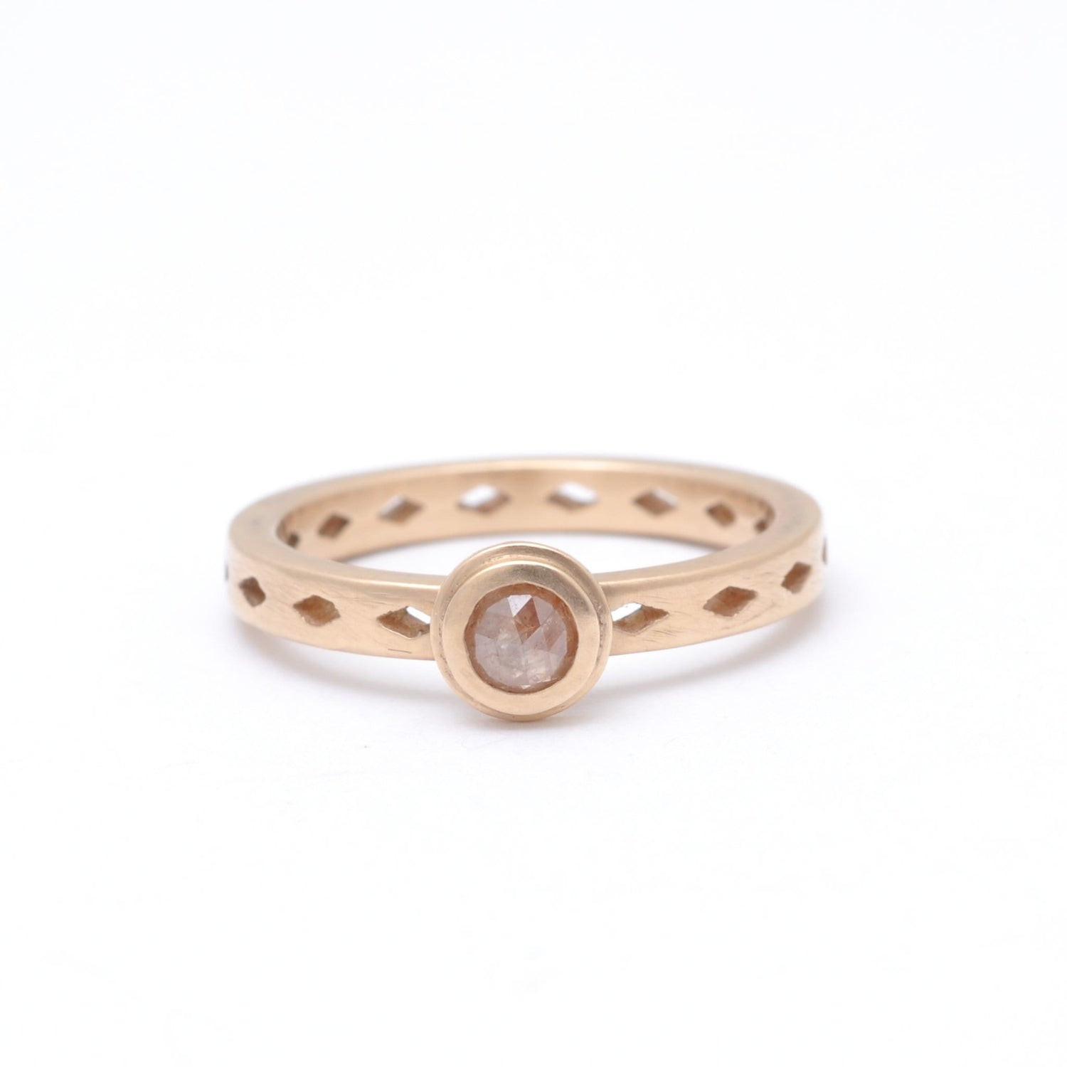 Rustic Diamond Matte Rose Gold Ring Santi Rom