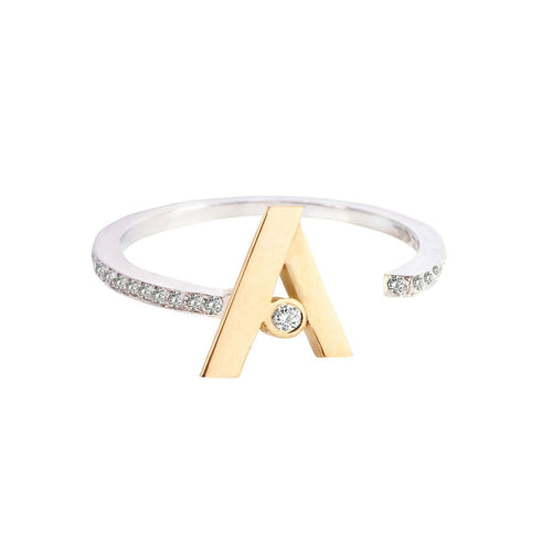 Custom Gold Initial Diamond Ring
