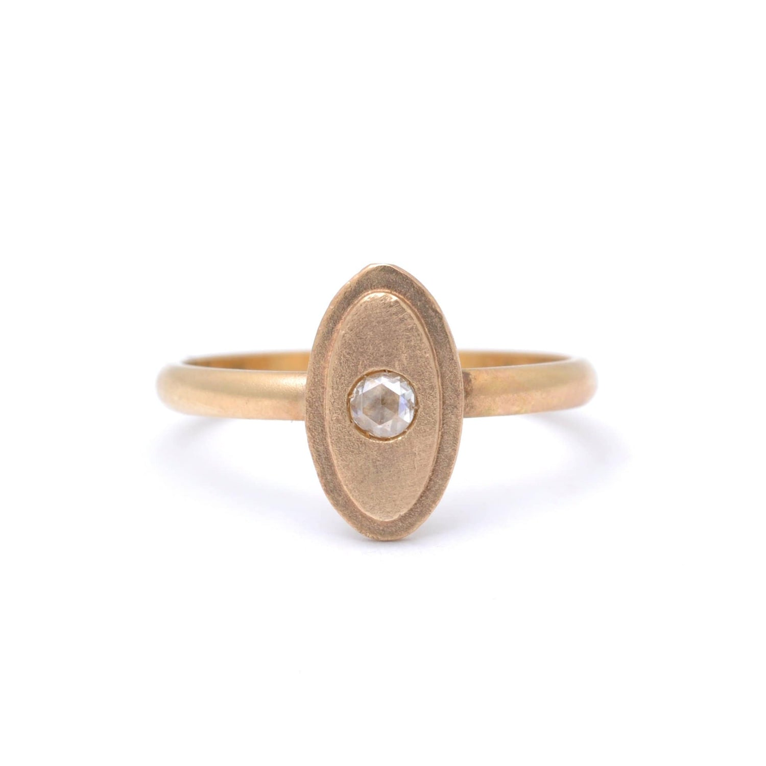 Fancy Diamond Matte Gold Oval Shape Ring