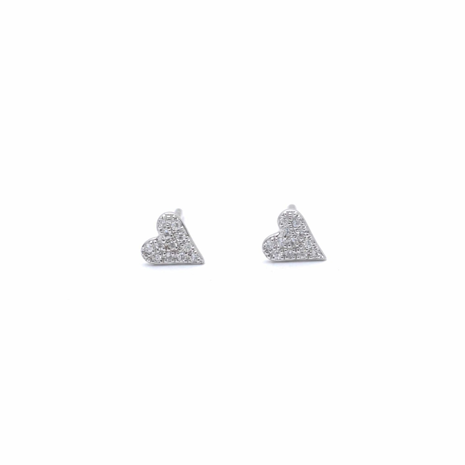 Small Pave Diamond White Gold Heart Earrings