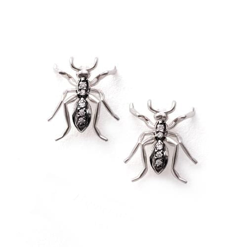 Ant Stud Earrings Diamonds White Gold and Black Rhodium - Curated Los Angeles
