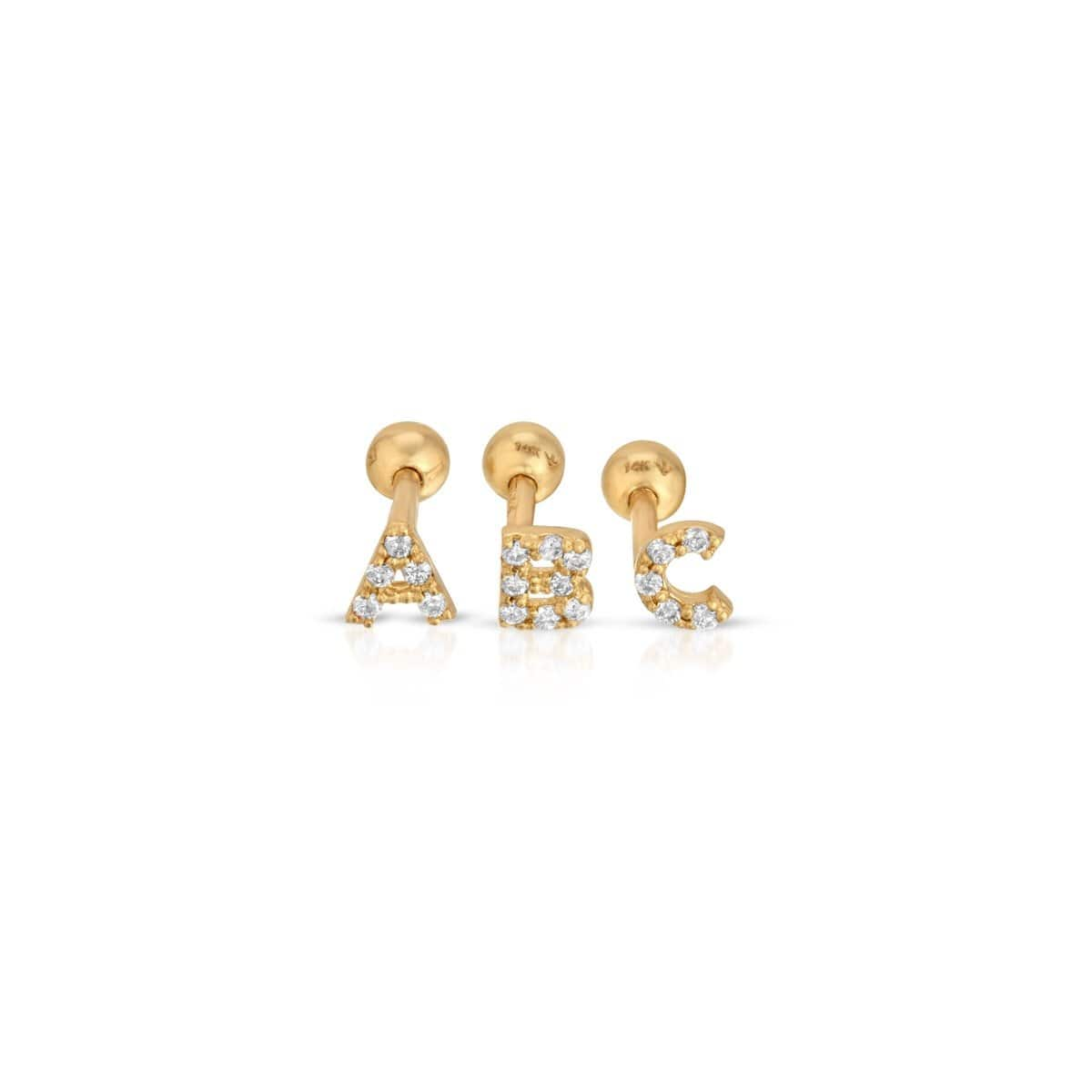 Mini Initial Diamond Studs