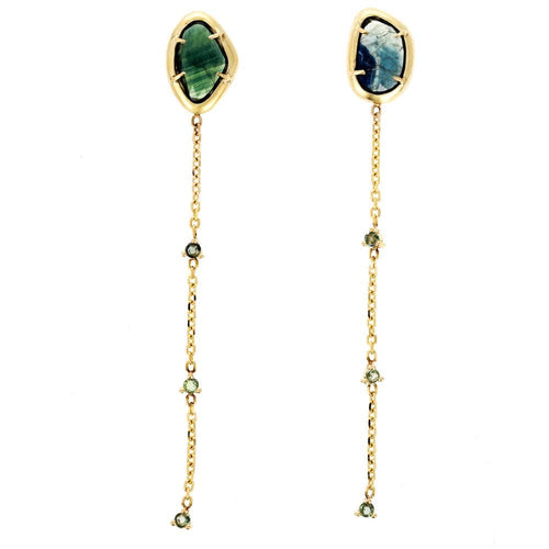 Blue and Green Sapphire Drop Earrings - Curated Los Angeles